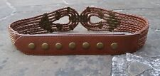 S - Wide Brown PU Belt womens with plaited detail, stud closure