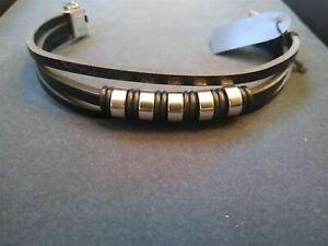 3 Strand Beaded Black PU Leather / Steel Bracelet. Be a Rockstar! ~New~