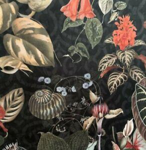Floral Italian Velvet Botanical Tropical Black Green Aloe Curtains Upholstery