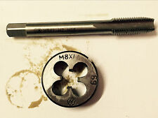 1pc HSS Machine M8 X 1.0mm Plug Tap and 1pc M8 X 1mm Die Threading Tool