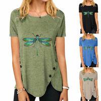 Damen Kurzarm T-Shirt Blusen Tee Shirts Tops Irregulär Libelle Printed Sommer