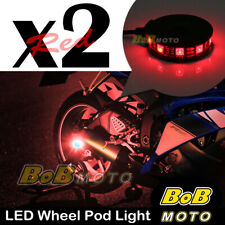 2x Red 360 Degree Cycle Rim Wheel SMD LED Pod Light For Honda Motorcycles