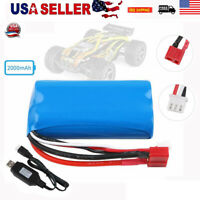 7.4V 2000mAh 2S Lipo Battery 20C T Plug Connector w/ USB Charger for RC Car USA