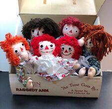 """10""""Dakin Raggedy Ann Cloth Dolls Throughout The Years Set Of 6 Time Goes By MINT"""