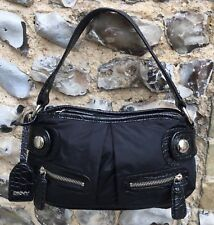 Womens DKNY Shoulder Bag Black Zip Up Faux Leather Trim Side Handbag Fabric