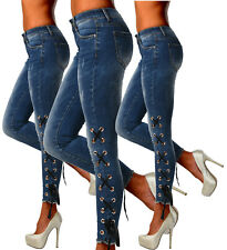 Sexy Stretchy Women's Blue  Jeans Trousers With Side Lace Skinny Slim E 382