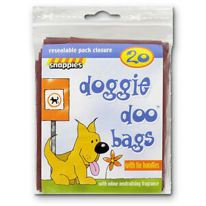 Snappies Dog Tidy-Up Doggie Doo Poo Waste Bags Tie Handles + Odour Neutralising