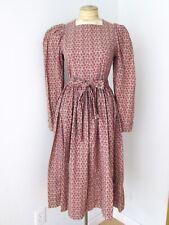 Vtg 70s Laura Ashley red green floral poppy cotton midi tea dress belt US 10