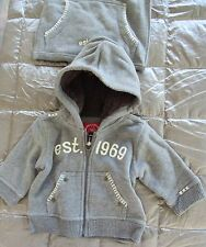 NWT BABY GAP 2 piece Sherpa Lined Hood 1969 GRAY HOODIE & Sweatshirt BAG 3-6 mo