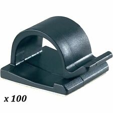 100 BLACK 16 x 16mm ADHESIVE STICKY CABLE CLIPS 6mm - 8mm CABLE DIAMETER