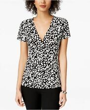 $139 KASPER WOMEN'S BLACK WHITE DOT-PRINT FAUX-WRAP BLOUSE TOP PETITE SIZE PM