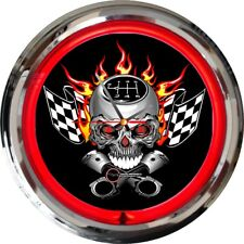 Gearhead Skull Crossbones Pistons Neon Red Clock Ford Chevy Dodge Toyota Harley