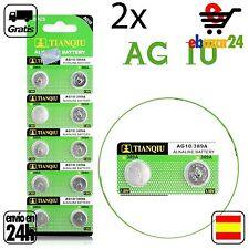 2x AG10 PILAS pila de botón baterías 389A boton bateria AG 10 LR54 LR1130 L1131