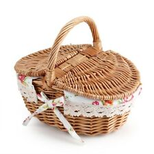 Oval Double Lidded Wicker Linen Floral Picnic Storage Basket Camping Home Decor