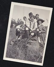 Vintage Antique Photograph Group of Women in Cool Outfits Sitting on Large Rock