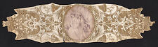 1857 gold embossed banner with victorian print of man putting flowers in hair