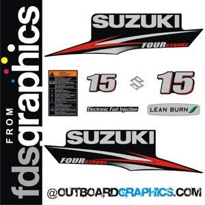 Suzuki DF15 15hp four stroke outboard engine decals/sticker kit