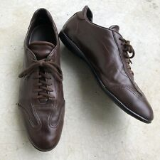 Santoni Men's Brown Leather Sneakers Lace Up Low Top 9.5