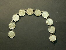 Canada, Sterling Silver 5 Cents Coin Bracelet, 1904 to 1920, 13.7g #G4730