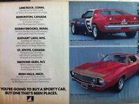 1971 American Motors Javelin AMX Mark Donohue Trans Am Champ Lime Rock print ad