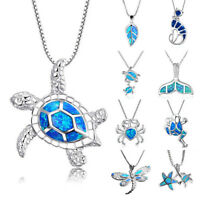 Women Blue Opal Sea Turtle Cutout Pendant Necklace Clavicle Chain Jewelry Gifts