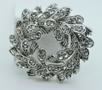 GORGEOUS DESIGNER Style Wreath Shape Brooch /Pin clear Rhinestone Crystal YD55