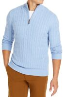 Club Room Mens Sweater Blue Size Small S Qurter Zip Pullover Cable Knit $65 #118