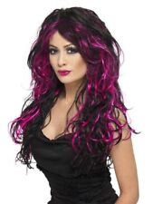 Long Black And Pink Gothic Bride Wig Curly Witches Wig Ladies Fancy Dress