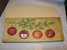 12 Christmas Cards & Envelopes 9X4 Noel Snowman Pink Tree Raised Ornaments