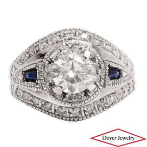 Estate Diamond 1.92ct Sapphire 14K Gold Filigree Engagement Ring 8.3 Grams NR