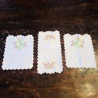 Vintage Handmade Linen Small Table Runner Trio 3 Piece Set Embroidered Flowers