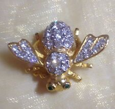 Vintage Joan River Gold Plated Clear Crystal Bee Pin Brooch
