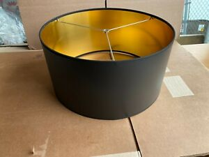 """Contemporary Traditional  Drum Shape Lamp Shade 16"""" w x 8"""" ht Black/Gold"""