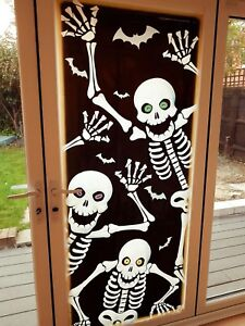 Escaping Skeleton Door Cover Wall Scene Setter Halloween Decoration Poster Scary