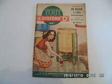 SYSTEME D N°94 10/1953 MACHINE A LAVER SECHOIR ELECTRIQUE TABLE PING PONG   H69