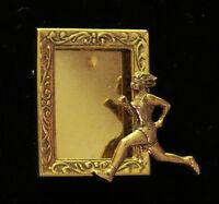 Cross-Country Runner Female Photo Frame Pin 24 Karat Gold Plate