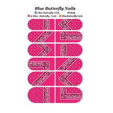 #1215 - Deep Pink Paisley Bandana Bandanna Nail Water Decals