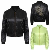 Womens Ladies MA1 Diamantee Classic Casual Bomber Jacket Vintage Zip Up Biker