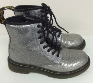 Dr Martens Children Kids Grey Sparkle Boots Size UK 1