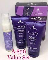 Alterna CAVIAR Travel Anti-Aging MOISTURE Shampoo/Conditioner BOND REPAIR Spray