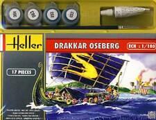Heller Oseberg Drakkar Nave a vela +Colore Pennello Colla Modello kit 1:180 kit