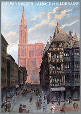 Affiche chemin de fer Alsace Lorraine - Strasbourg