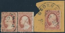 #25 (3) DIFFERENT USED (1) ON A PIECE WITH TOWN CANCELS CV $375 BS3702