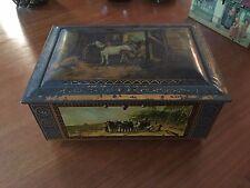 Vintage belle ancienne boite Lithographiè en fer fin 19ème déb 20èm chevaux