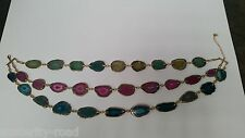 STUNNING SLICED AGATE NECKLACE CONTAINING 30 PIECES - BLUE GREEN PURPLE PINK