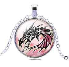 Vintage Dragon Cabochon Tibetan Silver  Glass Chain Pendant Necklace NEW
