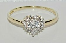 9ct Yellow Gold 0.50ct Ladies Heart Cluster Ring - size J - UK Hallmarked