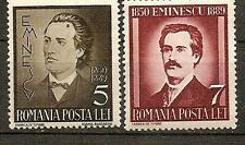 ROMANIA 1939 MIHAI EMINESCU POET SC # 491-492 MNH