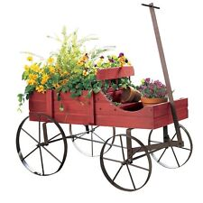 Vintage look Flower Planter Stand distressed Wood wagon Wheel barrow garden