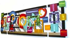 Large Geometric Abstract Wood Wall Sculpture with Metal, colorful,vibrant decor